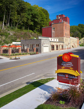 Potosi Brewery and entrance to Holiday Gardens Event Center