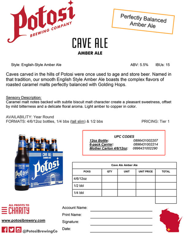 Cave Ale Sell Sheet