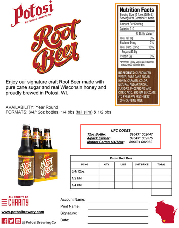 Potosi Root Beer Sell Sheet