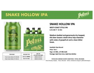 Potosi Snake Hollow IPA Sell Sheet 2 Image